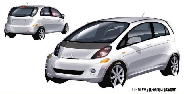 sketch of wider, U.S.-specification 2012 Mitsubishi i-MiEV