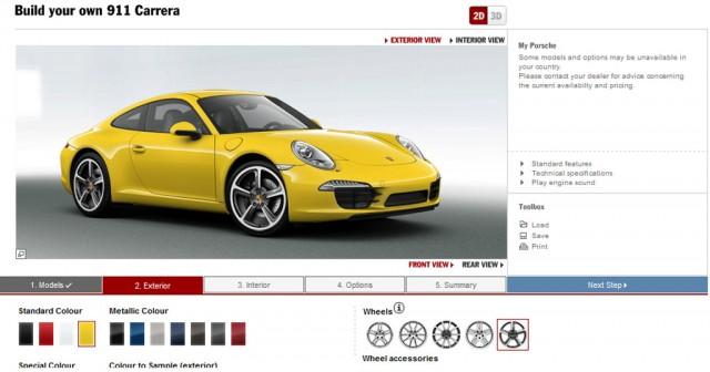 2012 Porsche 911 online configurator