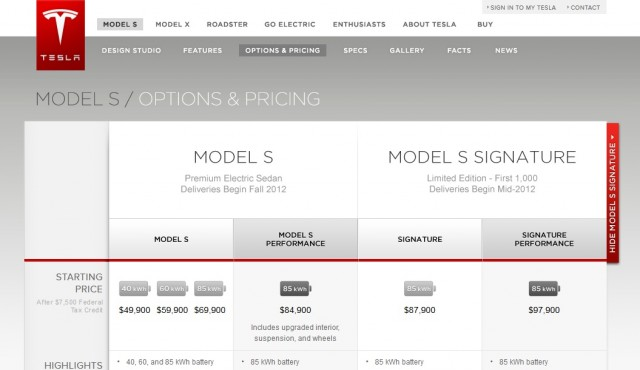 2012 Tesla Model S - net pricing shown on Tesla website