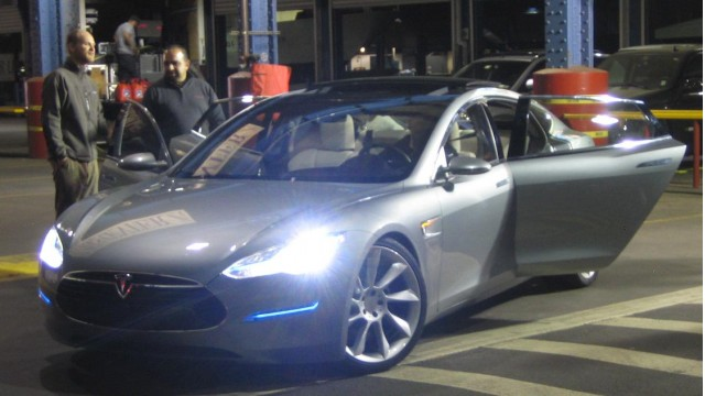 2012 Tesla Model S - waiting for our 90-second ride