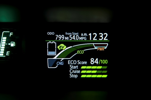 2012 Toyota Prius c ECO Score Display