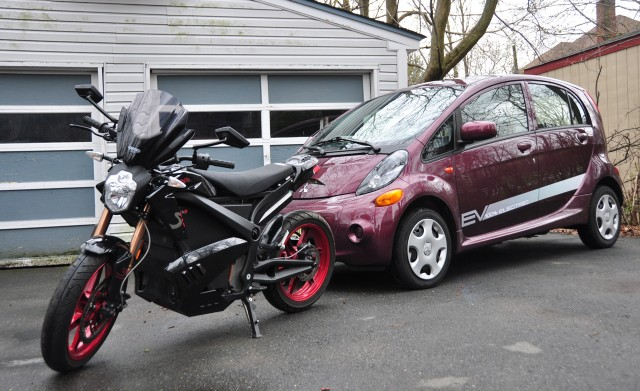 2012 Zero S electric motorcycle and 2012 Mitsubishi i-MiEV electric car [photo: Ben Rich]