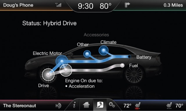 2013 Lincoln MKZ Hybrid - energy flow diagram on center display