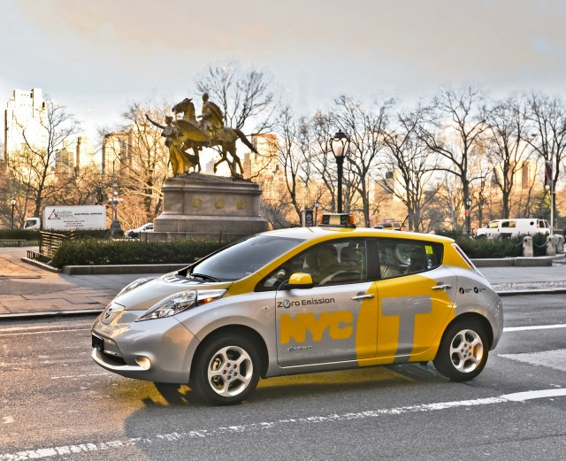 2013 Nissan Leaf electric car tested as taxi in New York City, April 2013