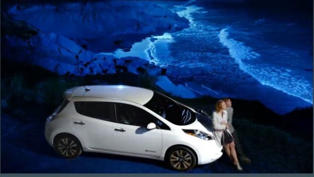 Nissan Leaf Facts Television Ad Frame Capture M on Tesla Electric Car Frame