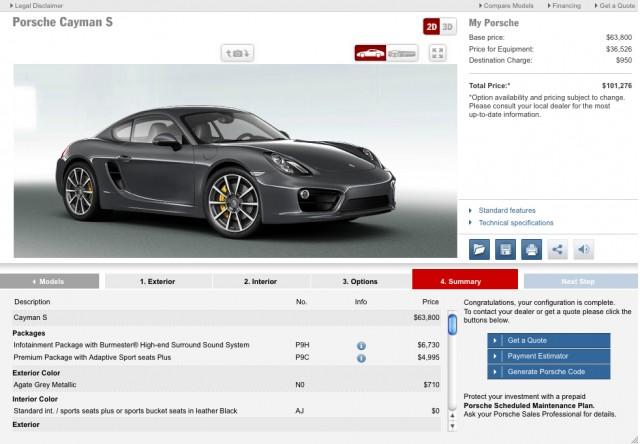 2014 Porsche Cayman S Configurator