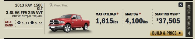 2013 Ram 1500 max payload and towing
