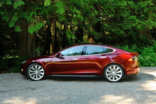 2013 Tesla Model S in old-growth forest, Bella Coola Valley, Canada [photo: owner Vincent Argiro]