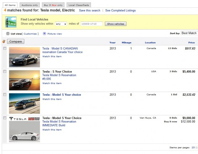2013 Tesla Model S reservations offered for sale on eBay, Dec 11, 2012