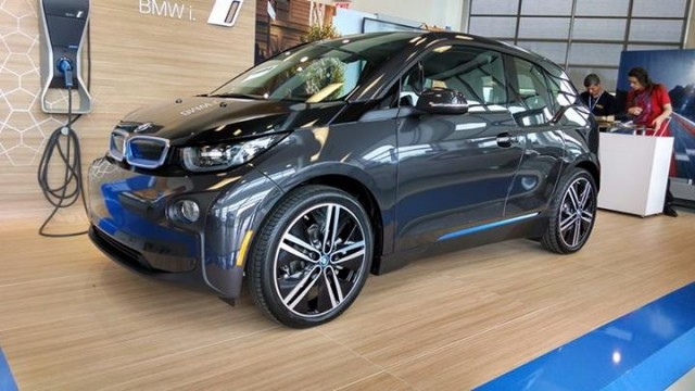2014 BMW i3 REx range-extended electric car owned by Tom Moloughney - in dealership showroom