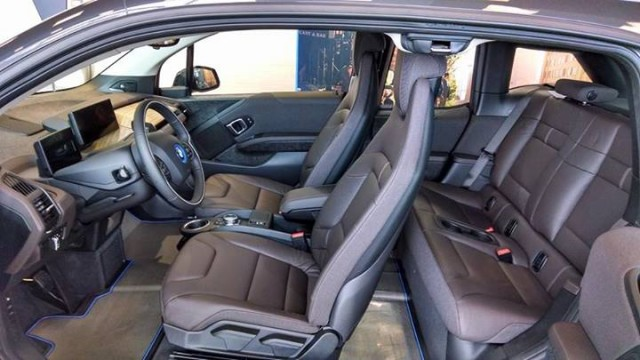 2014 BMW i3 REx range-extended electric car owned by Tom Moloughney - interior with four doors open