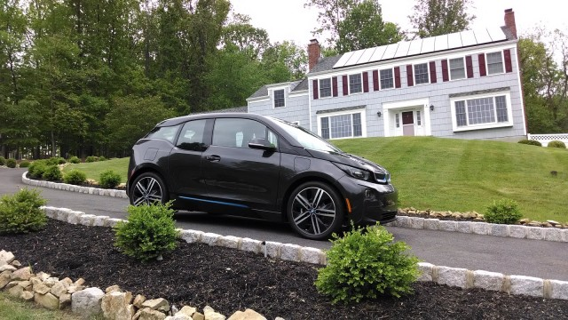 2014 BMW i3 REx range-extended electric car owned by Tom Moloughney - in front of house