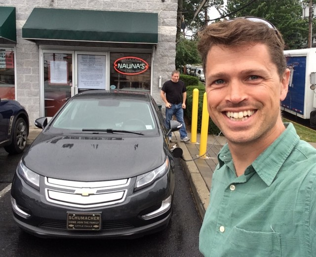2014 Chevrolet Volt with owner Ben RIch and electric-car advocate Tom Moloughney