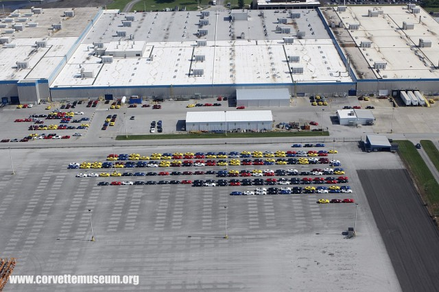 2014 Chevy Corvette Stingrays lined up outside of Bowling Green plant. Image via Corvette Museum.