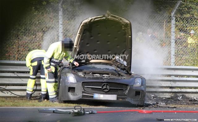 2014 Mercedes-Benz SLS AMG Black Series prototype crashes on the Nürburgring