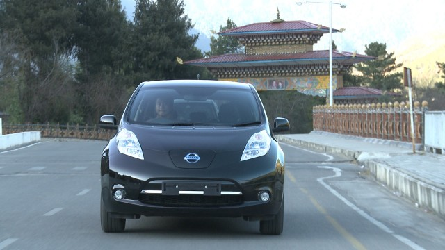 2014 Nissan Leaf electric car on the roads of Thimphu, Bhutan