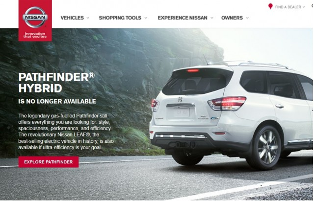 2014 Nissan Pathfinder Hybrid information page on Nissan North America website, Jun 2015