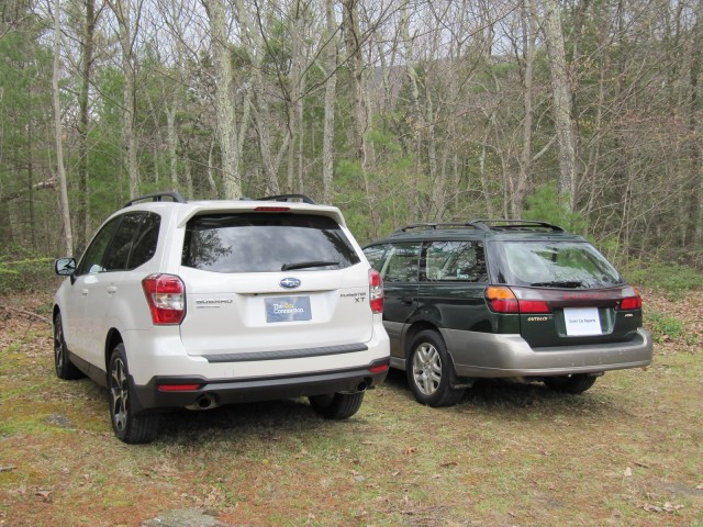 2014 Subaru Forester 2.0XT with 2000 Subaru Outback, Catskill Mountains, NY, May 2015