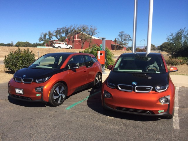 2015 BMW i3 REx fast-charging at Keefer's, King City, California [photo: Jeff Pantukhoff]