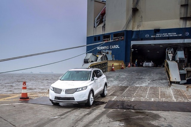 2015 Lincoln MKC driven off a container ship at a port in China