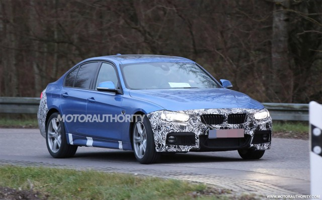 2016 BMW 3-Series facelift spy shots - Image via S. Baldauf/SB-Medien