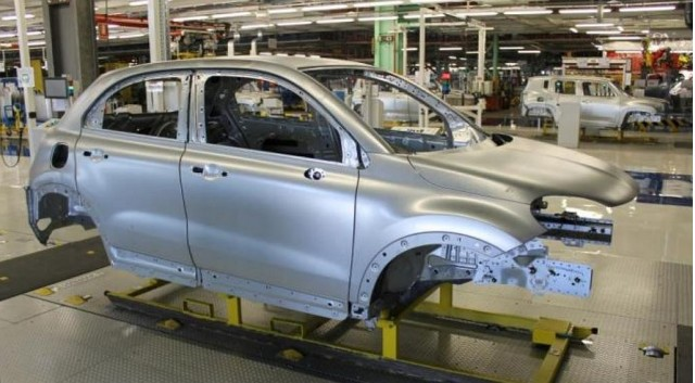 2016 Fiat 500X prototype body shell in assembly plant in Melfi, Italy