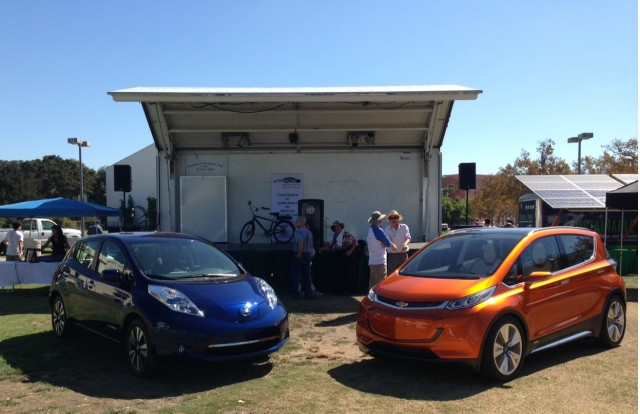 2016 Nissan Leaf, Chevy Bolt EV at Drive Electric Week event, Los Angeles [photo: Zan Dubin Scott]