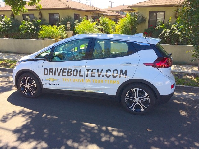 2017 Chevrolet Bolt EV electric car, brought to Kelly Olsen's house for test drive, March 2017