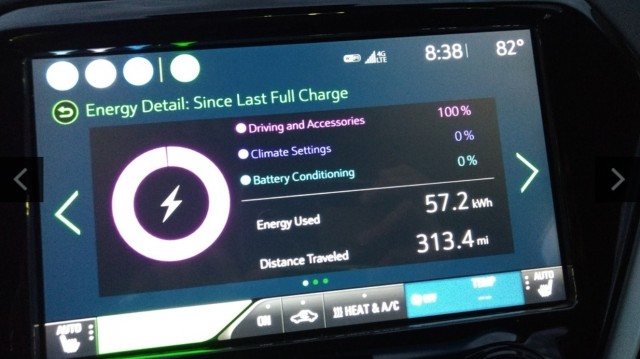 2017 Chevy Bolt EV vehicle information screen after trip across Maryland [image: Brian Ro]