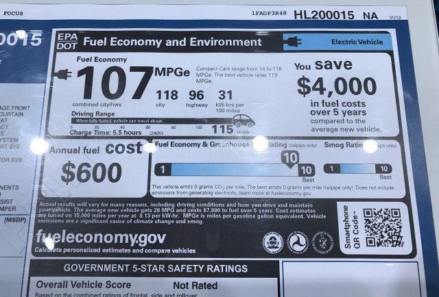 2017 Ford Focus Electric window sticker showing 115-mile range rating