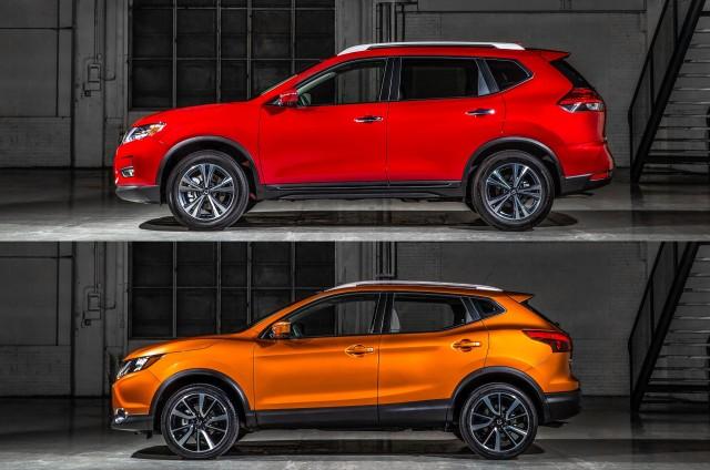 2017 Nissan Rogue (top) vs 2017 Nissan Rogue Sport (bottom)