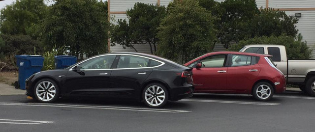 2017 Tesla Model 3 and 2011 Nissan Leaf, Half Moon Bay, California, Aug 2017 [photo: Scott Forrest]