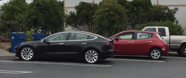 2017 Tesla Model 3 and 2011 Nissan Leaf, Half Moon Bay, California, Aug 2017 [photo: Scott Forrest]