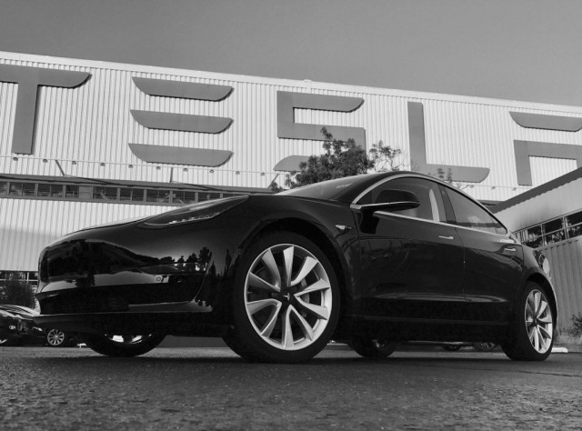 "2017 Tesla Model 3 ""first production"" car, in photo tweeted by Elon Musk on July 9, 2017"