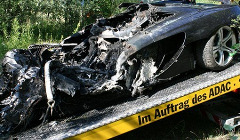 A McLaren MP4-12, destroyed on a test drive in Germany