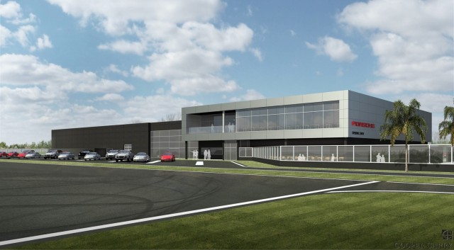 A rendering of the upcoming Porsche Experience Center in Carson, California