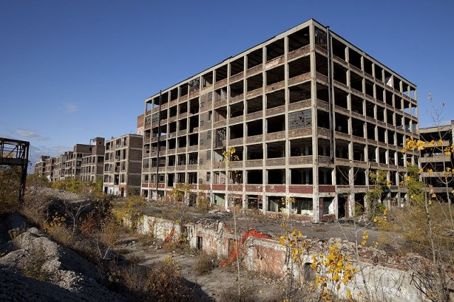 Abandoned Packard plant in Detroit, courtesy Albert duce via Wikimedia