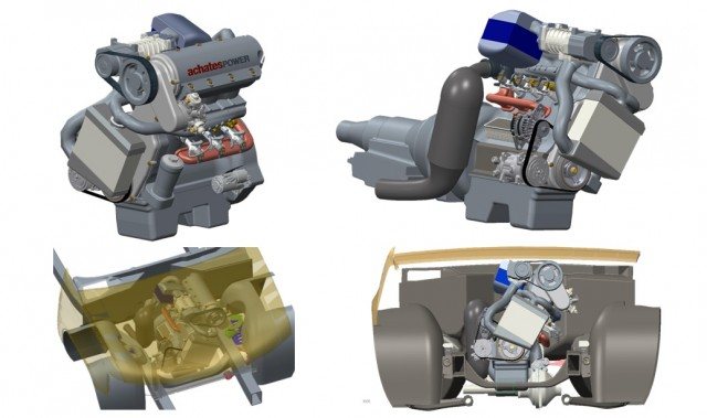 Achates opposed-piston two-stroke diesel engine, as it would be packaged for truck installation