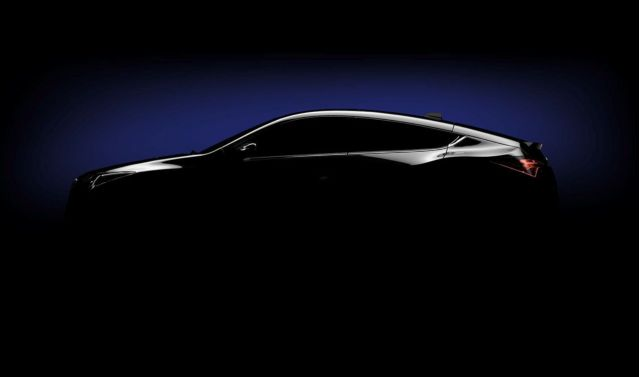 Side view of a new model Acura will likely unveil at the 2009 New York International Auto Show