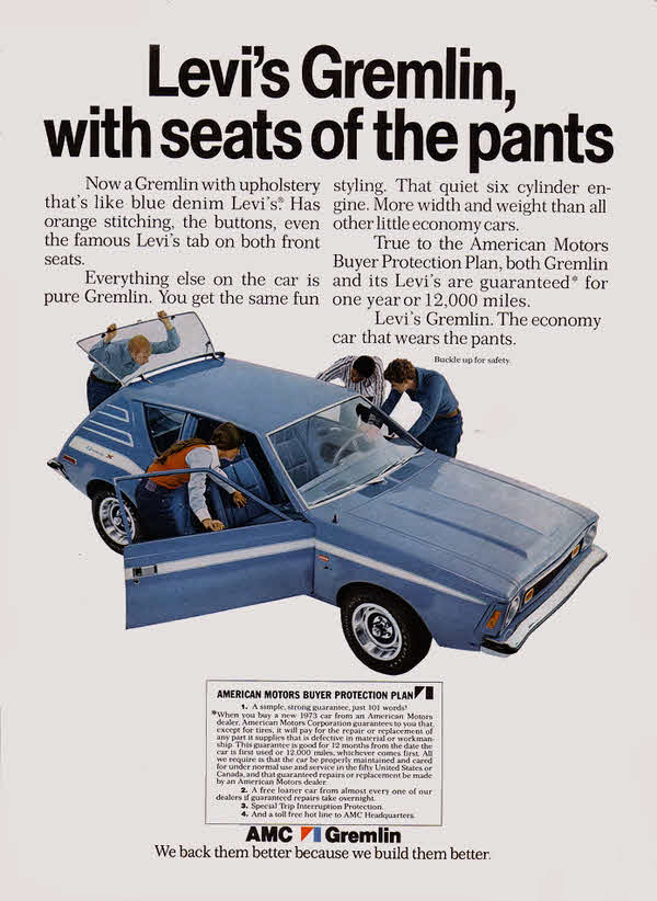 Ad for 1972 Levi's AMC Gremlin