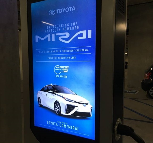 Toyota Mirai Touted In Ad On Electric Car Charging Station