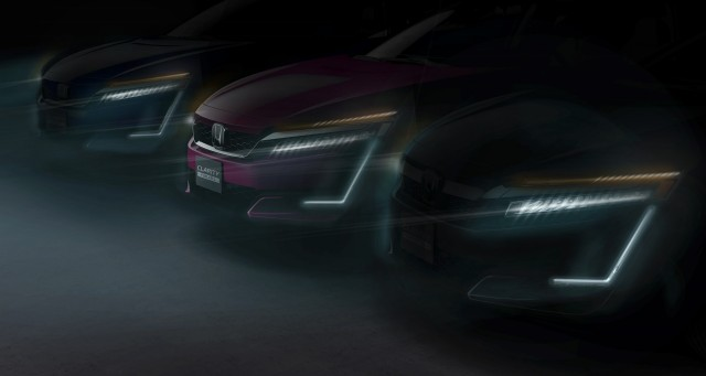 All three versions of Honda Clarity teased (Plug-In Hybrid, Fuel Cell, EV) before 2017 NY auto show
