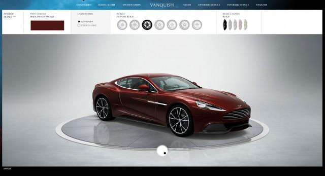 Aston Martin's Vanquish configurator web page