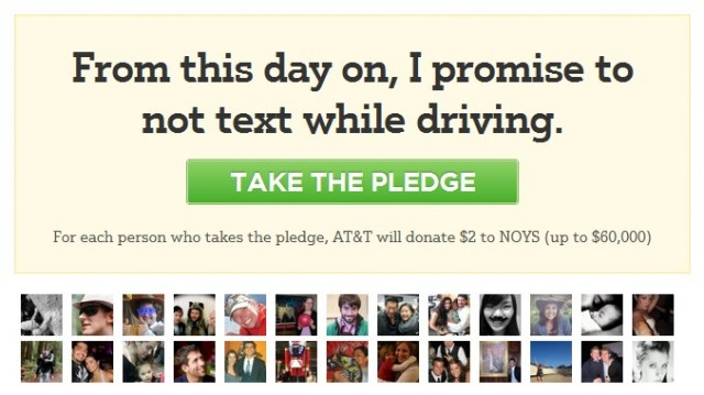 AT&T no-texting campaign on Facebook Causes