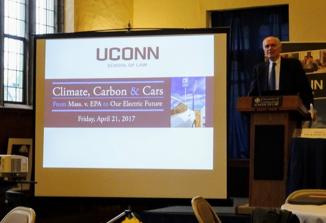 Attorney James Milkey speaks at Univ of Connecticut Conference on Climate, Carbon & Cars, Apr 2017