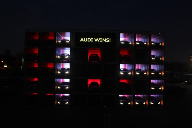 Audi displays 'lucky number 13' with cars in shipping containers after 2014 24 Hours of Le Mans win