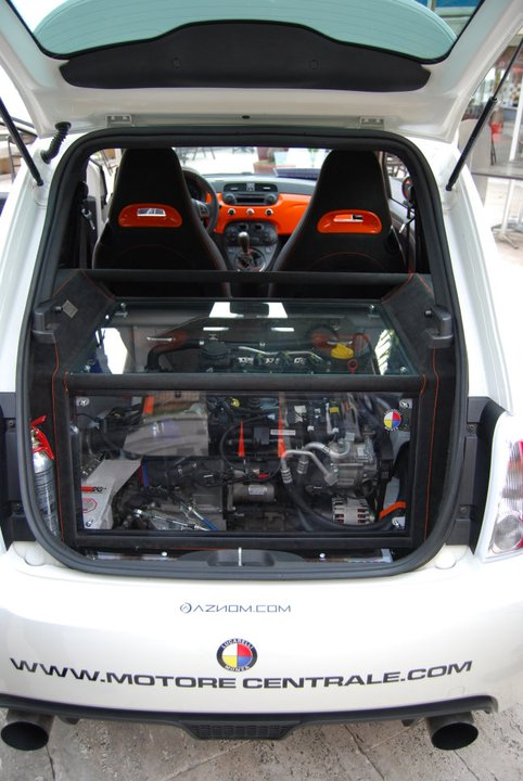 Aznom Fiat 500 with mid-engine, rear-drive layout