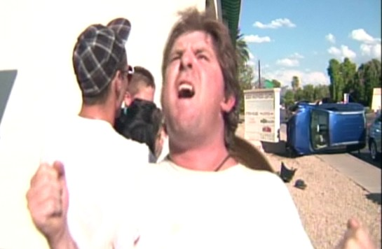 BAAAM! George Lindell recounts his accident. Image via video capture from MyFoxPhoenix report.