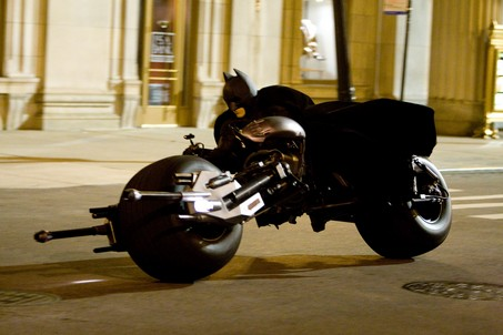 Batman astride the Batpod in the 'The Dark Knight Rises'