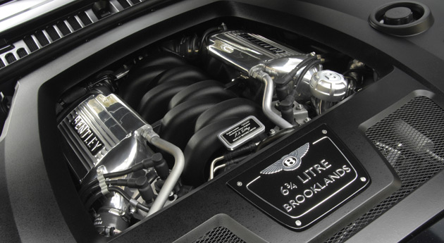The 6.75L V8 in the Bentley Brooklands coupe develops 530hp (395kW) and 775lb-ft (1,050Nm) of torque